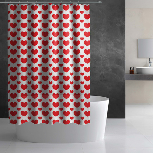 Штора 3D для ванной  Фото 02, Красные сердечки