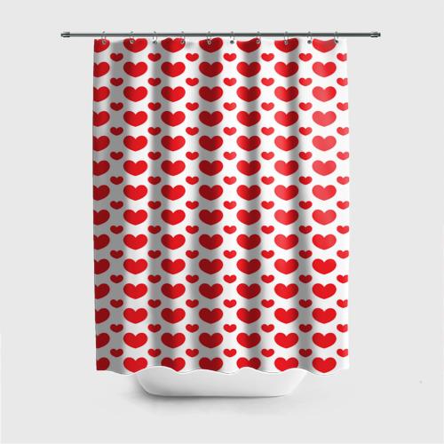 Штора 3D для ванной  Фото 01, Красные сердечки