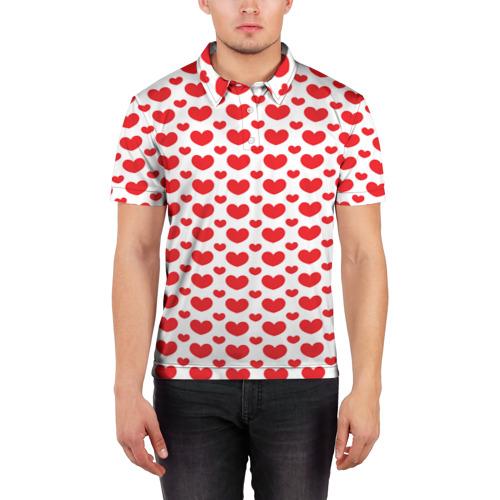 Мужская рубашка поло 3D  Фото 03, Красные сердечки