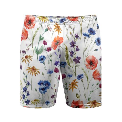 Мужские шорты 3D спортивные  Фото 01, Полевые цветы