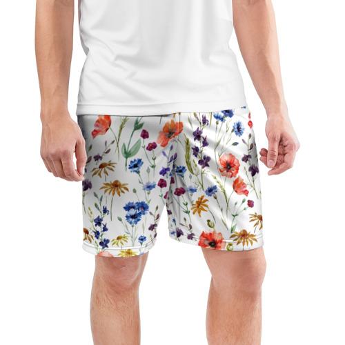 Мужские шорты 3D спортивные  Фото 03, Полевые цветы