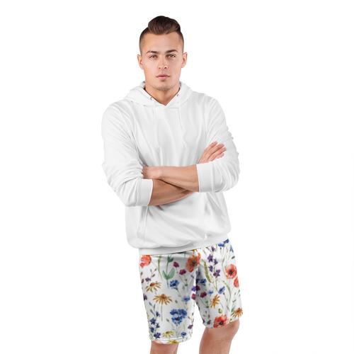 Мужские шорты 3D спортивные  Фото 05, Полевые цветы