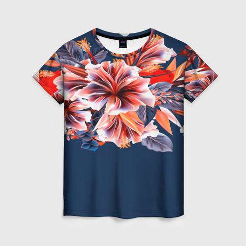 Женская футболка 3D Цветочная мода Фото 01