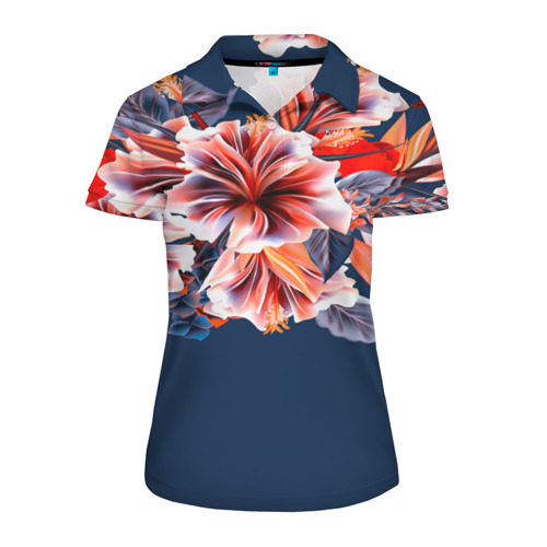 Женская рубашка поло 3D  Фото 01, Цветочная мода