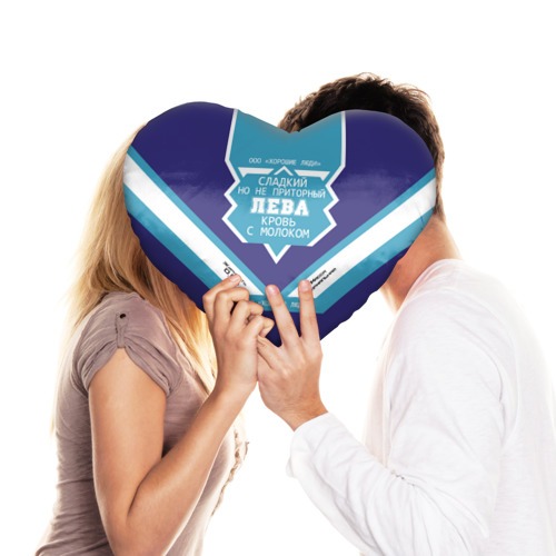 Подушка 3D сердце  Фото 03, Лева - банка сгущенки