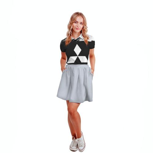 Женская рубашка поло 3D Mitsubishi Black collection Фото 01