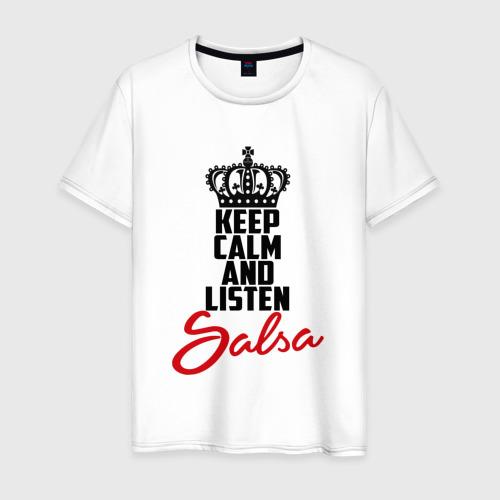 Мужская футболка хлопок Keep calm and listen Salsa