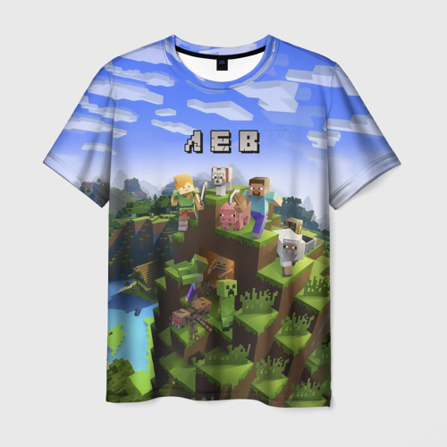 Мужская футболка 3D  Фото 01, Лев - Minecraft