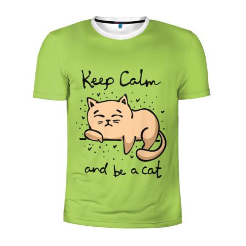 Мужская футболка 3D спортивная  Фото 01, Keep Calm and be a cat