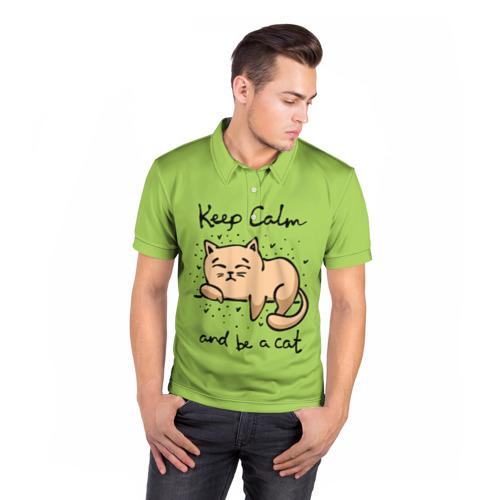 Мужская рубашка поло 3D  Фото 05, Keep Calm and be a cat