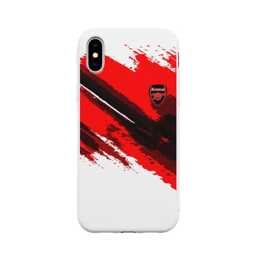 Чехол для Apple iPhone X силиконовый матовый FC Arsenal Original 2018