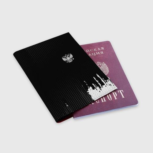 Обложка для паспорта матовая кожа Russia black collection Фото 01