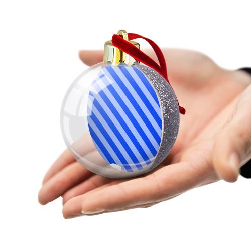 Ёлочный шар с блестками  Фото 03, В полоску