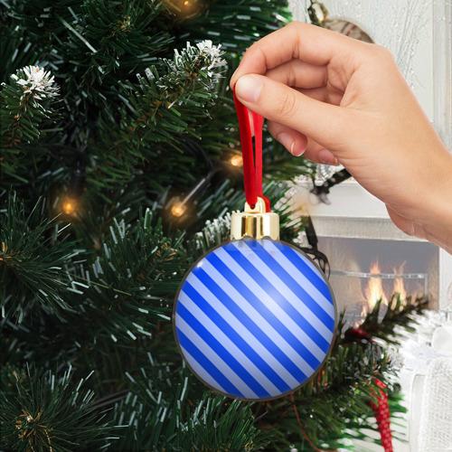 Ёлочный шар с блестками  Фото 04, В полоску