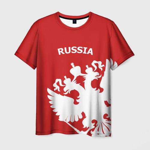 Мужская футболка 3D RUSSIA Red&White