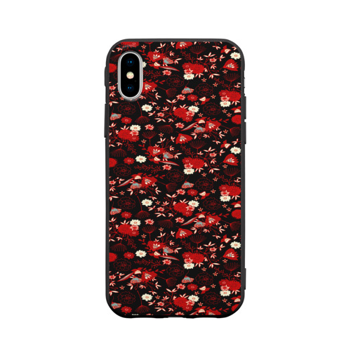 Чехол для Apple iPhone X силиконовый матовый Цветы на тёмном фоне Фото 01