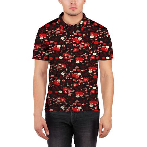 Мужская рубашка поло 3D Цветы на тёмном фоне Фото 01