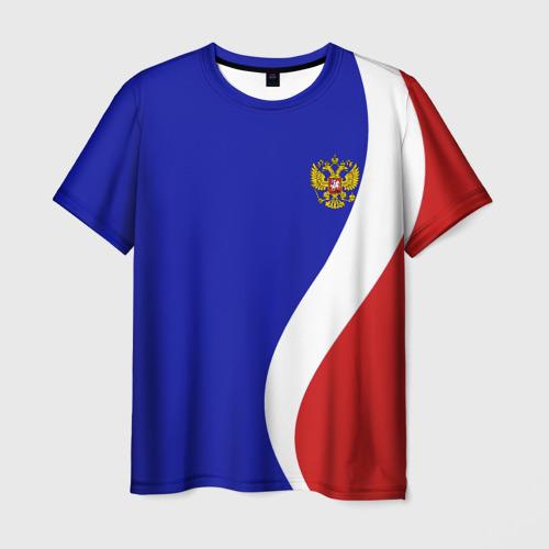 Мужская футболка 3D Герб РФ Триколор