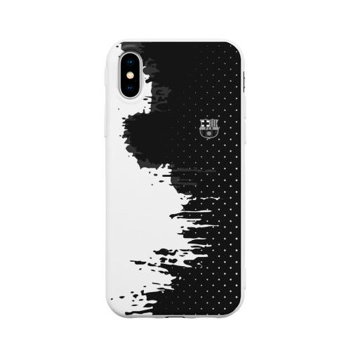 Чехол для Apple iPhone X силиконовый матовый Barcelona uniform black 2018