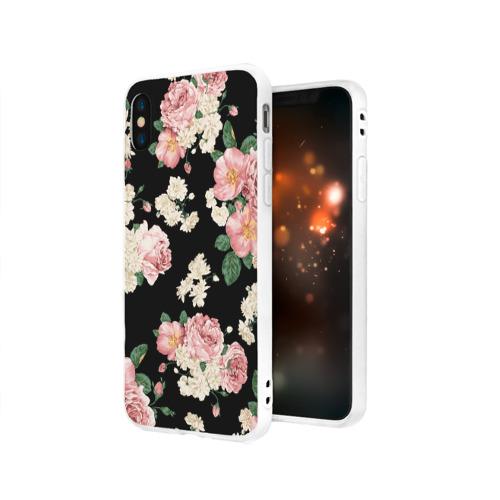 Чехол для Apple iPhone X силиконовый матовый Flowers Pattern Фото 01