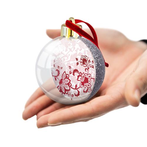 Ёлочный шар с блестками  Фото 03, Цветочный орнамент