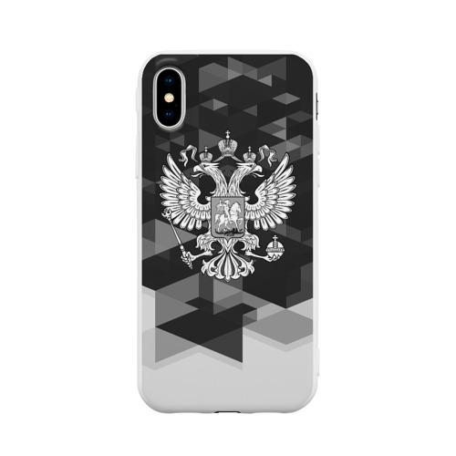 Чехол для Apple iPhone X силиконовый матовый Russia Black&White Abstract