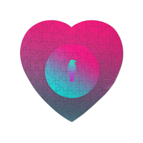 Пазл магнитный сердце 75 элементов Птичка неон