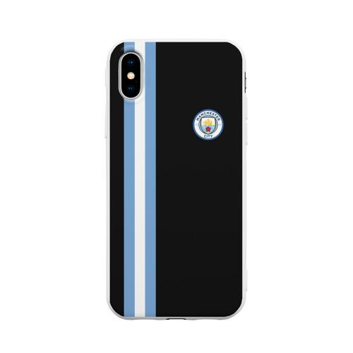Чехол для Apple iPhone X силиконовый матовый Манчестер Сити