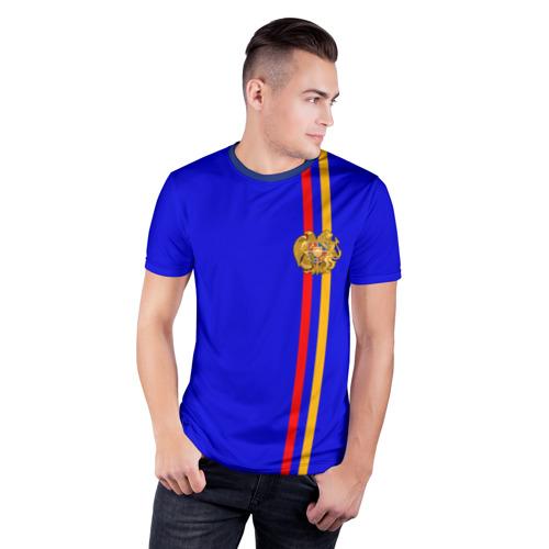 Мужская футболка 3D спортивная  Фото 03, Армения, лента с гербом
