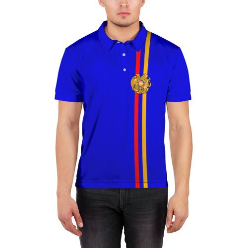 Мужская рубашка поло 3D Армения, лента с гербом