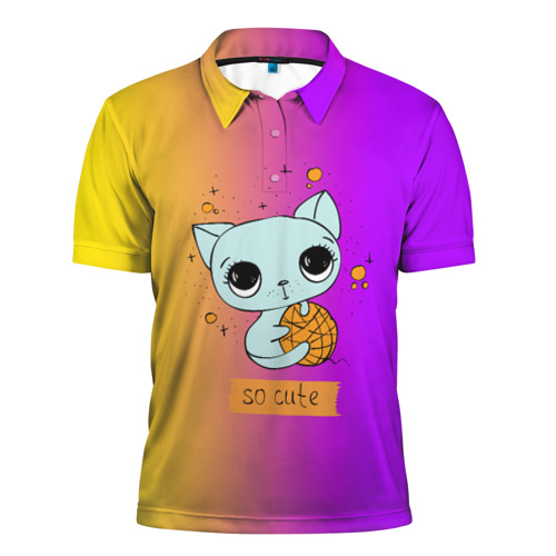 Мужская рубашка поло 3D  Фото 01, Милый котёнок