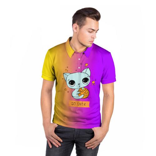 Мужская рубашка поло 3D  Фото 05, Милый котёнок