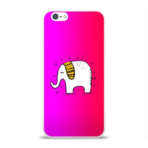 Чехол для Apple iPhone 6 силиконовый глянцевый  Фото 01, Радужный слоник