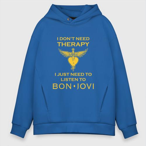Мужское худи Oversize хлопок I just need to listen to Bon Jovi Фото 01