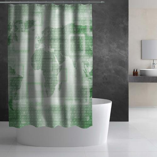Штора 3D для ванной  Фото 02, Цифровая карта мира