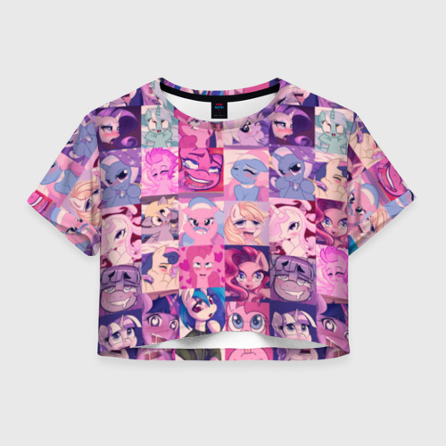 Женская футболка Crop-top 3D My Little Pony Ahegao Фото 01