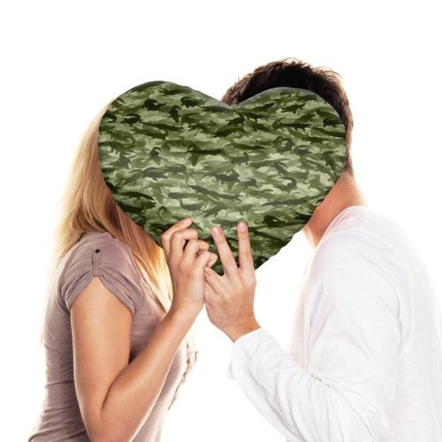Подушка 3D сердце  Фото 03, Камуфляж с крокодилами