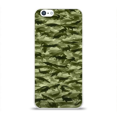 Чехол для Apple iPhone 6 силиконовый глянцевый  Фото 01, Камуфляж с крокодилами