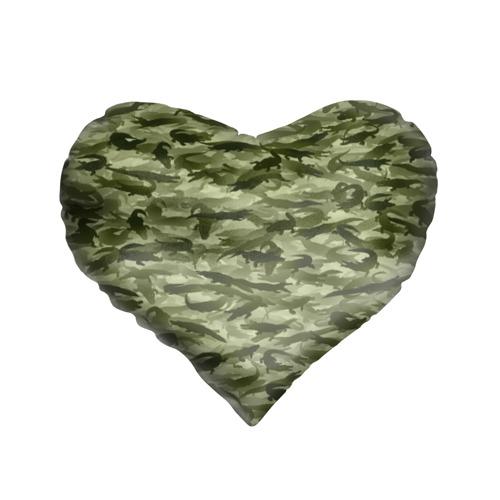 Подушка 3D сердце  Фото 01, Камуфляж с крокодилами