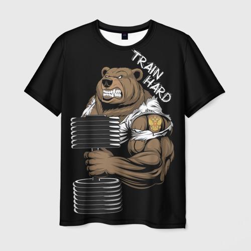 Мужская футболка 3D Train hard