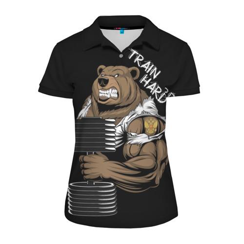 Женская рубашка поло 3D Train hard