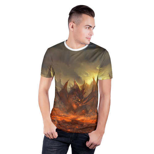Мужская футболка 3D спортивная  Фото 03, Fire Dragon