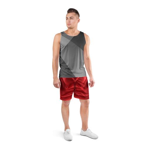 Мужские шорты 3D спортивные  Фото 04, Красный Шелк