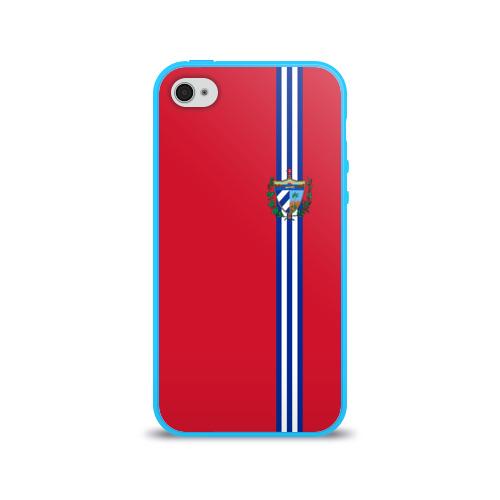 Чехол для Apple iPhone 4/4S силиконовый глянцевый  Фото 01, Куба, лента с гербом