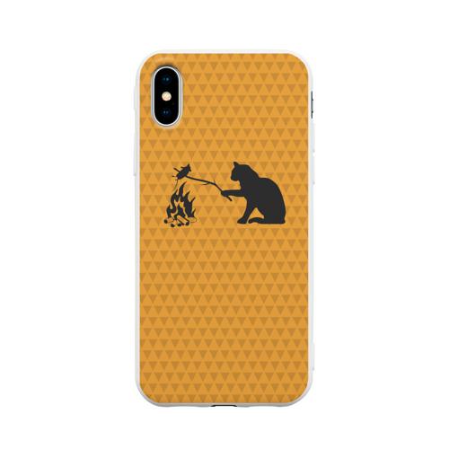 Чехол для iPhone X матовый Кот жарит Фото 01