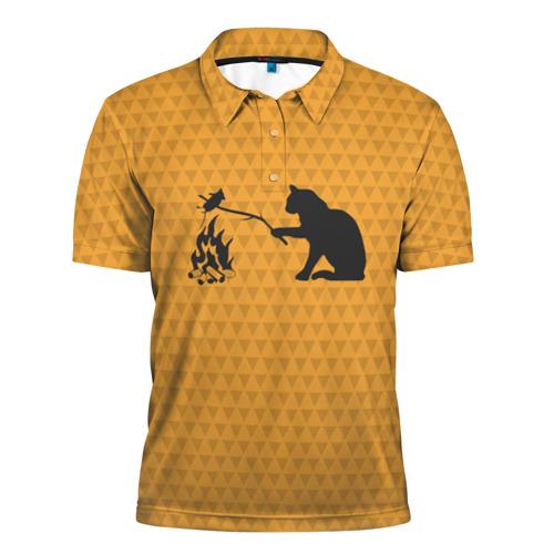 Мужская рубашка поло 3D Кот жарит