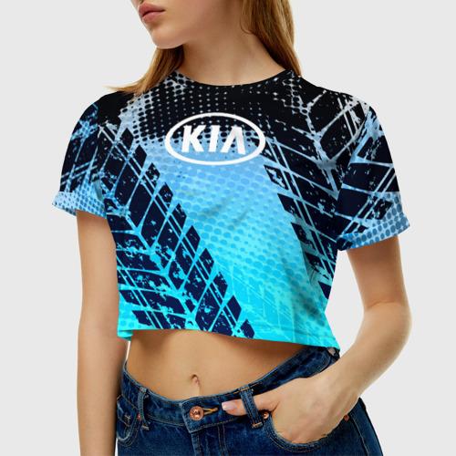 Женская футболка 3D укороченная  Фото 01, KIA sport auto motors