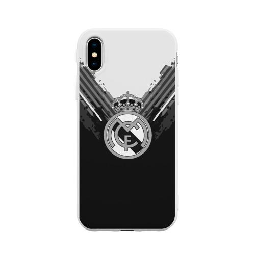 Чехол для Apple iPhone X силиконовый матовый Real Madrid abstract original