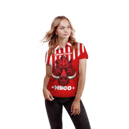 Женская рубашка поло 3D Будет мясо Фото 01