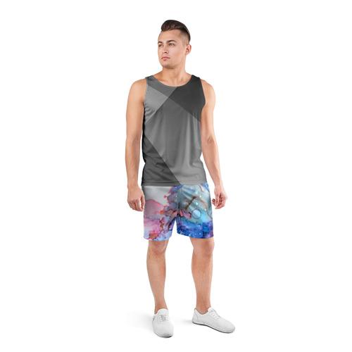 Мужские шорты 3D спортивные  Фото 04, Акварельные разводы